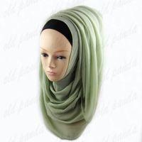 Wholesale Hijab Knit - Free Shipping High Quality Plain Chiffon Scarf Pure Color Muslim Hijab Soft Malaysia Shawls Wraps Multi Color Big Size