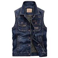 Wholesale Casual Cargo Jacket - Fashion Denim Vest Men Waistcoat With Pocket Cargo Vest Sleeveless Jeans Jacket Big Size M-4XL