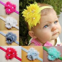 Wholesale Silk Ribbon Flower Buds - 2016 wholesale newborn infant bud silk flowers ribbon headband baby plus drill pearl flower children girls hair accessories
