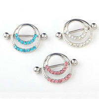 Wholesale Nipple Ring Men - Mix colors Rhinestone Body Piercing Navel Belly Button Ring 316L allergic Medical for men and women C024