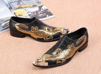 Wholesale Commercial Career - Black shoes fashion designer men personalized metal tip toe shiny boat shoes marriage commercial and recreational leather shoes