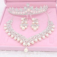 Wholesale Earrings Rhinestone Dropping - New Arrival 2018 Bride Jewelry Thress Sets Necklace Crown And Drop Earrings Hot Sale Faxus Rhinestone Wedding Bridal Accessories