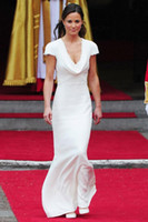 Wholesale Pippa Middleton Dresses - Famous Elegant Pippa Middleton Bridesmaid Dresses 2017 Short Sleeve V Neck Covered Button Back Mermaid Formal Evening Gowns
