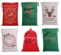 Wholesale Free Style Ornament - Fedex  DHL Free 11 style Large Canvas Monogrammable Santa Claus Drawstring Bag With Reindeers, Monogramable Christmas Gifts Sack Bags B980