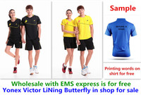 Wholesale Shirt Table - Wholesale EMS for free, Text printing for free, new badminton shirt clothes table tennis T sport shirt clothes 1111