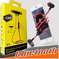 Wholesale Built Microphone Headphones - For iPhone 7 Plus wireless earbuds M9 Stereo Bluetooth earphone Sports headphone earbud In Ear Bluetooth 4.0 Build in Microphone