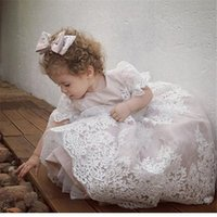 Wholesale Cheap Cute Little Girl Dresses - 2017 Cute Lace Appliques Ball Gown Flower Girl Dresses Crew Neck Cheap Little Girls Wedding Party Gowns Custom Made