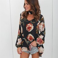 Wholesale Sexy Plus Clothes - Fashion Plus Size Chiffon Blouse Women Autumn Floral Shirt With Long Sleeve Woman Sexy Shirts Clothes White Blouses Tops For Women