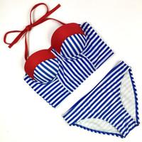 Wholesale Brazillian Bikinis - Sexy Bikinis Women Swimwear Halter Top Plaid Stripe Bandeau Swimsuit Brazillian Bikini Set Bathing Suit Summer Beach Wear 1783