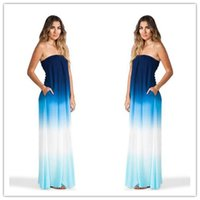 Wholesale Long Beach Cocktail Dress - Cocktail Dresses Sexy Women Long Maxi Strapless Cocktail Evening Party Gown BOHO Beach Dresses Elegant Chiffon Empire Red Carpet Dresses