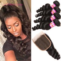 Wholesale Modern Hair Show - Modern Queen Raw Indian Loose Wave Haman Hair Bundle With Lace Closure Beauty Show Indian Loose Curl Closure And 4 Bundles Hair Weaves