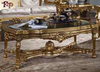 mobília francesa antiga venda por atacado-Antique CLASSIC FURNITURE-Mesa de centro clássica francesa com tampo de vidro - Mesa de centro clássica italiana