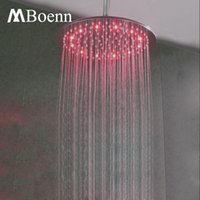 Wholesale 12 Inch Ceiling Shower Head - Ceiling Rain Shower Head Brushed Led 12 Inch 304 Stainless Steel Big Water Saving Rainfall Shower Heads 3 Colors Showers