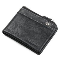 Wholesale Men Genuine Trifold Leather Wallet - hot sale high quality cowhide genuine leather purse fashion designer casual trifold multi function zipper leather men wallet