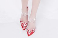 Wholesale Mix Crystal Points - Glittering Crystal Wedding Bridal Shoes Sandals 7- 8 cm Med Heel Lady Prom Sandals Pointed Toe Red and White Women Shoes 2016 Suum