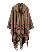 Wholesale oversized knitted scarf - 2017 Winter Stoles Women Cashmere Striped Poncho Cape Tassel Hooded Oversized Knitted Cardigan Blanket Long Shawl Scarf Pashmina