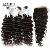 Wholesale Indian 32 Inch Wavy Weave - Indian Deep Wave Virgin Human Hair Weaves With Closure Unprocessed Deep Curly Wavy Hair 3 Bundles And Lace Closure Free Middle Part 4X4Size