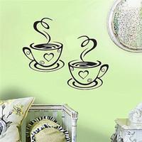 diseños de copa de vinilo al por mayor-Nueva Llegada Hermoso Diseño Tazas de Café Café Té Pegatinas de Pared Arte Vinilo Decal Cocina Restaurante Pub Decor