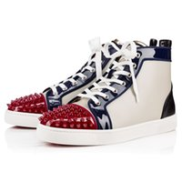 Wholesale 2016 Lous Spikes Men s Flat Sneakers tri colored red bottom sneaker patent leather high top top design red sole birthday gift