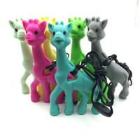 Wholesale Giraffe Teether Wholesaler - NEW! Mix colors Silicone giraffe teething pendant necklace BPA FREE silicone Teething Toy -silicone Giraffe teether
