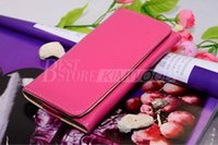Wholesale Iphone5 Leather Pouch - Cell Phone Wallet Leather Case for iPhone5 5G 4 4S General Purse with Credit Card Cash Slot Holder Button iPhone 5 Candy Cover