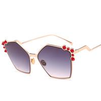 Wholesale large purple rhinestones - New rhinestones crystals sunglasses women original brand designer large frame gradient cat eye sunglass oculos de sol feminina UV400