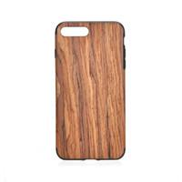 boîtier en bois naturel achat en gros de-Boîtier en bois naturel en bois 2 en 1 Coque arrière détachable pour téléphone cellulaire TPU pour Iphone 5 6
