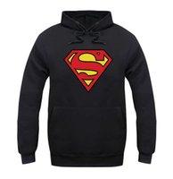 Wholesale Superman Long Sleeve Mens - 2016 Fleece Casual Unisex Hoodies Sweatshirt Superman Batman Hip Pop Pullover Mens Sportwear Coat Jogger Sport Tracksuit For man