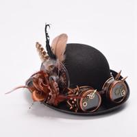 Wholesale Gothic Men Costume - Women Men Vintage Steampunk Hat Feathers Gear Glasses Decoration Gothic Black Hat Headwear Victorian Style High Quality