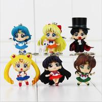 llavero luna al por mayor-Anime Cartoon Sailor Moon llavero Tuxedo Mask llavero llavero figura de acción juguete PVC muñecas cumpleaños regalo de Navidad