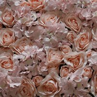 Wholesale artificial plants led lights for sale - Group buy NEW Artificial silk light pink Hydrangea rose flower wall wedding background lawn pillar flower road lead