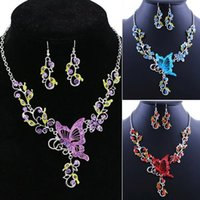 Wholesale Bib Agate Necklace - Splendid Butterfly Flower Rhinestone Pendant Bib Statement Necklace Earrings Jewelry Set for Gift 52AH