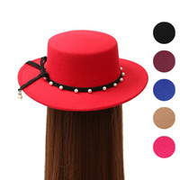 Wholesale White Wool Fedora - Autumn Winter Women Wool Fedoras with Pearl Belt Flat Brim Ladies Girls Wide Brim Hats Caps Vintage Felt Sun Top Hats