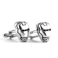 Wholesale Top Style Mask - 2016 Superhero Avengers Iron Man Mask Cufflinks For Mens Shirt Brand Cuff Buttons Top High Quality Movie Style Cuff Links Giftszj-0903650