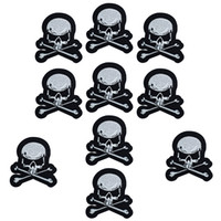 Wholesale Applique Badges Patches - 10PCS skull bone embroidery patches for clothing iron patch for clothes applique sewing accessories stickers badge on cloth iron on patches