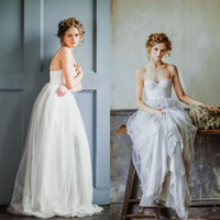 Wholesale Colored Cheap Wedding Dresses - 2016 Colored Beach Wedding Dresses Spaghetti Straps Lace Top Cheap High Quality Tulle Skirt Dusky Blue Bohemian Bridal Gowns Boho Bride Wear