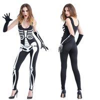 Wholesale Devil Costume Xl - Female Skeleton vampire Halloween devil with ds nightclub bar stage performance clothing skulls Siamese costumes
