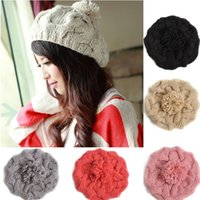 Wholesale Knit Flower Hat For Sale - New 2016 Korean Women Winter Hats Girls' Warm Wool Twist Knitted Hat Fashion Beanies For Woman Flowers Cap Accessories Hot Sale