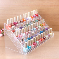Wholesale Acrylic Nail Polish Racks - Wholesale-HIGH QUALITY Clear Acrylic Beauty Makeup Nail Polish Storage Organizer Rack Display Stand Holder 65 Bottles Drop Shipping