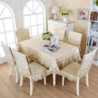 Wholesale Tablecloth Chairs - HOT SALE Pastoral lace Floral printing tablecloth set suit rectangle table cloth matching chair cover set 3 colors free ship