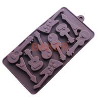 nuevos moldes de chocolate al por mayor-Venta al por mayor- nuevo molde de silicona 10 formas de guitarra incluso molde de chocolate de silicona bandeja de hielo molde DIY moldes para hornear CDSM-231