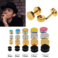 Wholesale 14mm Acrylic Ear Tunnels - Fake Ear Plug Stud Stretcher Ear Tunnel Earring Stainless Steel Body Piercing Jewelry 6-14mm Black Silver Gold Colorful