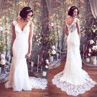 Wholesale Hung Back Dress - 2016 Elegant Deep V-Neck Wedding Dress Vintage Full Lace Mermaid Sleeveless Illusion Back Bridal Gowns with Sweep Train Hang Up