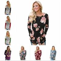 Wholesale tank top flowers - Women Tops Christmas Shirts Flower T Shirt Print Blouse Slim Casual Fashion Leisure Long Sleeve Tees Loose Tank 53 Styles OOA3717