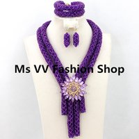 Wholesale elegant chunky necklaces - Elegant purple bridal Nigerian Wedding african Crystal Beads Jewelry Set 2 Chunky Layers Costume Jewelry Set aristocratic temperament