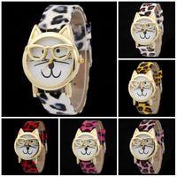 Wholesale Ladies Watch Dials Wholesale - Quartz watch Cute Glasses Cat Analog Quartz Dial Wrist Ladies Watches Women Gift Fashion Brand Women Dress Leather Watches