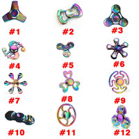 Wholesale 12Types Rainbow Fidget Spinner Colorful EDC Gyro Toys Titanium Alloy Crab Butterfly UFO Whirlwind Funny Beautiful Spinner