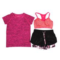 Wholesale Wholesale Training Bras - Wholesale- 3Pcs Women Fitness Running Yoga Sets Short Sleeve T-Shirt+Sport Bra+Shorts Trousers Sport Set Training Suit Quick Dry