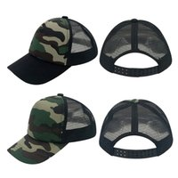Wholesale Baby Panel - Fashion Kids Child Baby Plain 5 Panels Trucker Hats Camouflage Baseball Caps Curved Bill Hat Fitted Boy Hat