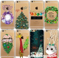 Wholesale Christmas Iphone 4s Covers - Christmas phone gel case for iphone 7 6 6s plus 5s 4s soft slim TPU defender cover case painting snowman case GSZ130